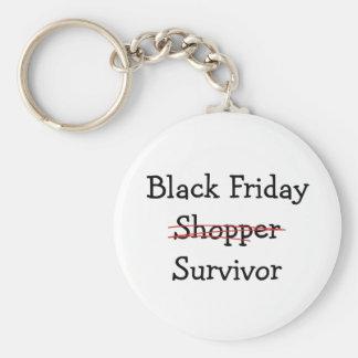 Black Friday Shopper Survivor gear and t-shirts. Basic Round Button Key Ring
