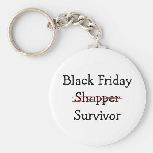 Black Friday Shopper Survivor gear and t-shirts. Keychains