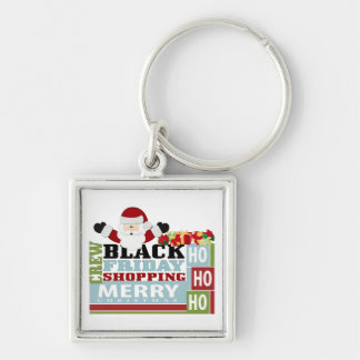 Black Friday Shopping Crew Silver-Colored Square Key Ring
