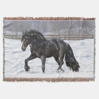 Black Friesian Draft Horse