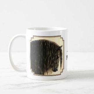 Black Friesian Draft Horse Basic White Mug