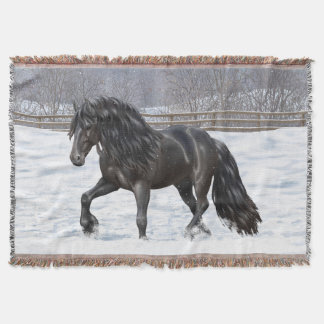 Black Friesian Draft Horse Throw Blanket