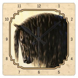 Black Friesian Horse Beige Square Wall Clock
