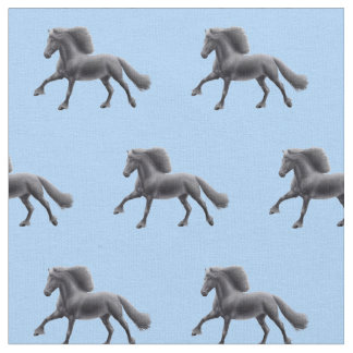 Black Friesian Horse Fabric