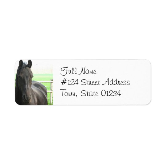 Black Friesian Horse Return Address Label