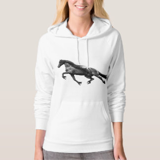 Black friesian stallion - friese horse hoodie