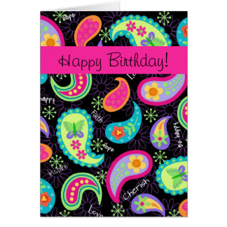 Black Fuchsia Pink Modern Paisley Happy Birthday Card