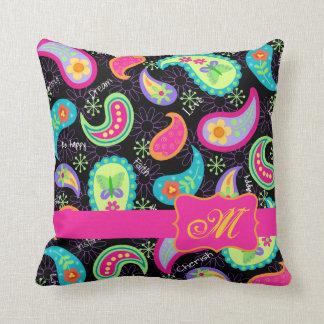 Black Fuchsia Pink Modern Paisley Monogram Throw Pillow