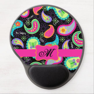 Black Fuchsia Pink Modern Paisley Whimsy Pattern Gel Mouse Pad