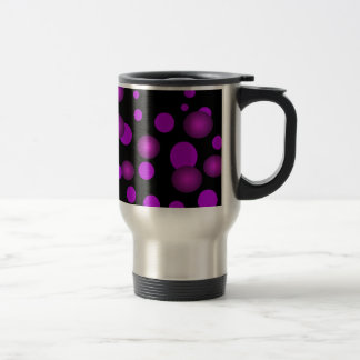 Black & Fuchsia Purple Polka Dots 3D Commuter Cup