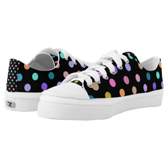 Black fun colourful polka dots rainbow low top printed shoes