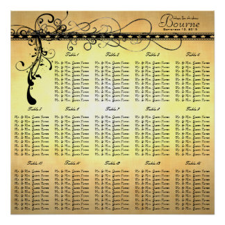 Black Funky Elegant Swirls Seating Chart Tables Poster