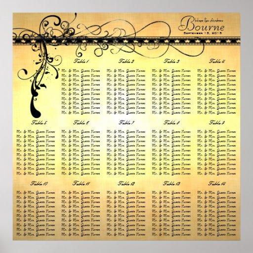 Black Funky Elegant Swirls Seating Chart Tables Print