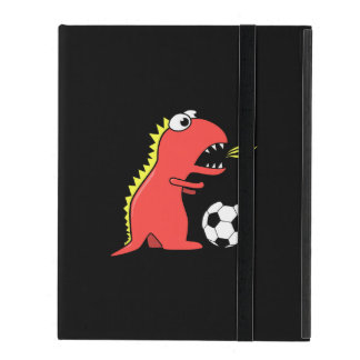 Black Funny Cartoon Dinosaur Soccer Strap Folio Covers For iPad