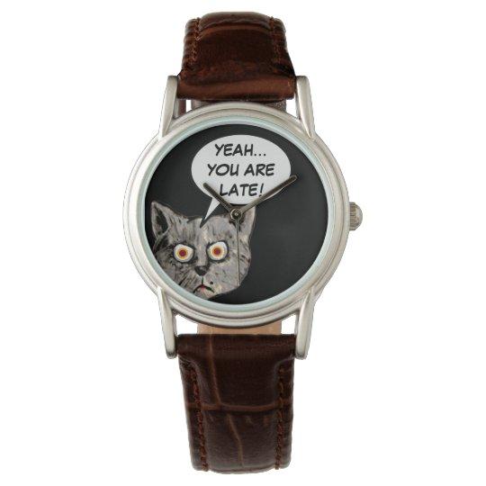 black funny cat speech balloon wristwatch