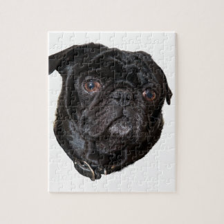 Black Funny Pug Jigsaw Puzzle