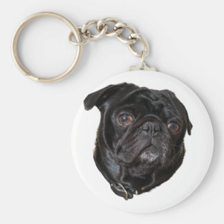 Black Funny Pug Key Ring