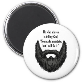 Black fuzzy beard magnet