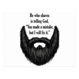 Black fuzzy beard postcard