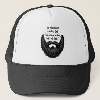 Black fuzzy beard trucker hat