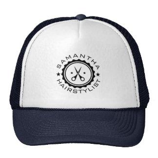 Black Geometric Circle & Hairstylist Scissors Cap