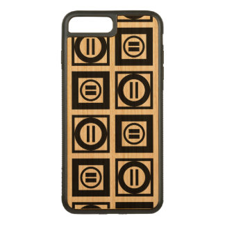 Black Geometric Equal Sign Pattern on Natural Wood Carved iPhone 8 Plus/7 Plus Case