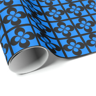 Black Geometric Floral on Azure Blue Wrapping Paper