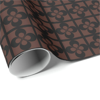 Black Geometric Floral on Brown Gift Wrap Paper