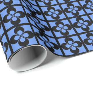 Black Geometric Floral on Cornflower Blue Gift Wrapping Paper