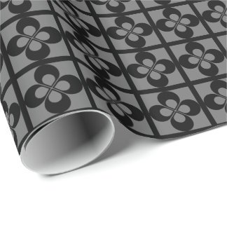 Black Geometric Floral on Gray Gift Wrapping Paper