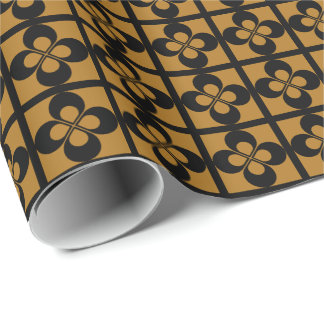 Black Geometric Floral on Matte Gold Gift Wrap Paper