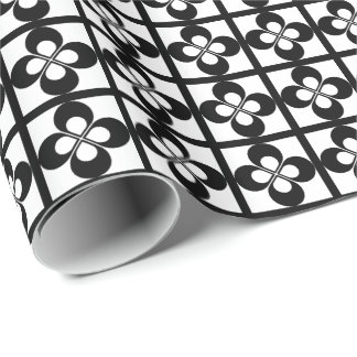 Black Geometric Floral on White Wrapping Paper