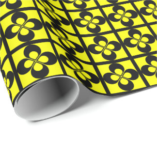 Black Geometric Floral on Yellow Gift Wrap Paper