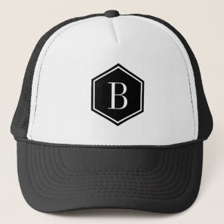 Black Geometric Ooctagon Monogram Trucker Hat