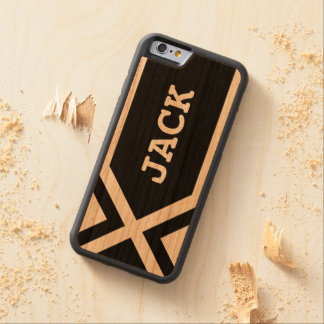 Black Geometric Personalized Manly Carved Cherry iPhone 6 Bumper Case