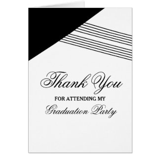 Black Geometric Stripe Graduation Thank You Card