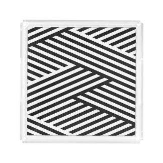 Black Geometric Stripes Abstract Pattern Acrylic Tray