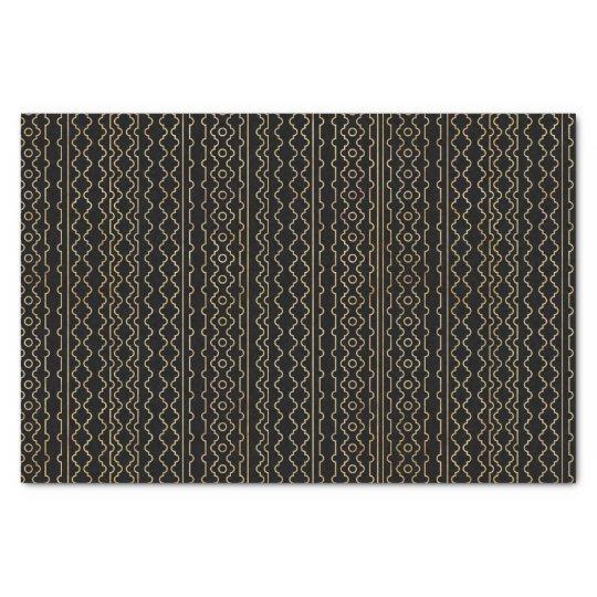 Black Geometric Stripes Pattern Tissue Paper