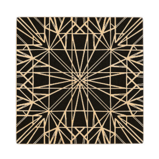 Black Geometric Symmetry Wood Coaster