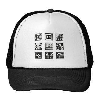 Black geometrical tribal pattern hat