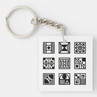 Black geometrical tribal pattern keychain