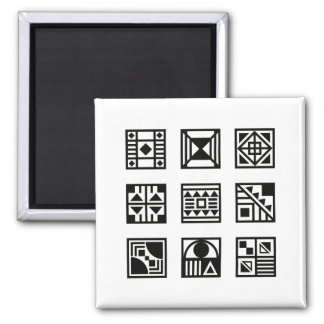 Black geometrical tribal pattern magnet