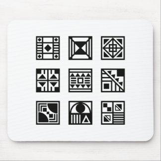 Black geometrical tribal pattern mouse pad