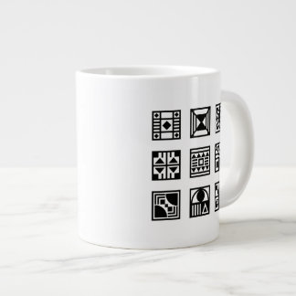 Black geometrical tribal pattern mug