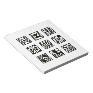 Black geometrical tribal pattern note pad