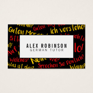 Black german language tutor business card