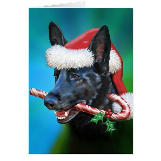 Black German Shepherd Christmas Cards