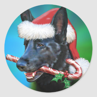 Black German Shepherd Christmas Classic Round Sticker