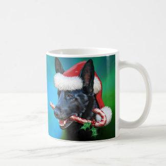 Black German Shepherd Christmas Coffee Mug