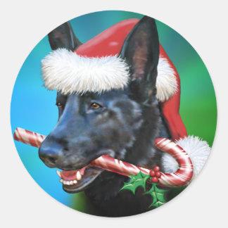 Black German Shepherd Christmas Sticker